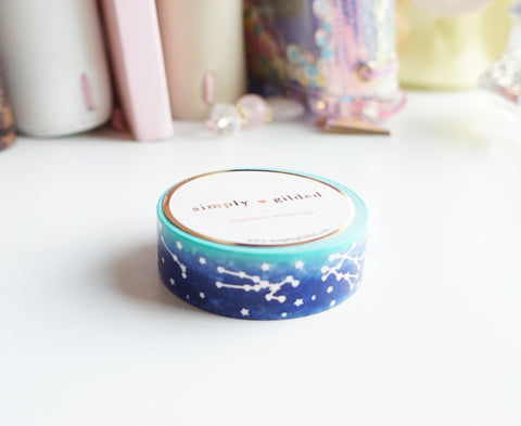 WASHI TAPE 15mm - MYSTERY CONSELLATIONS + holographic silver foil (Mystery Monday)