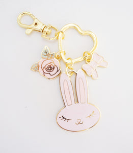 KEYCHAIN - Juniper MINT/PINK/FLOWER charm + gold hardware (Mystery Monday)