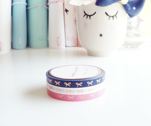 WASHI TAPE 5mm mini bow set - NAUTICAL + rose gold foil (Mystery Monday)