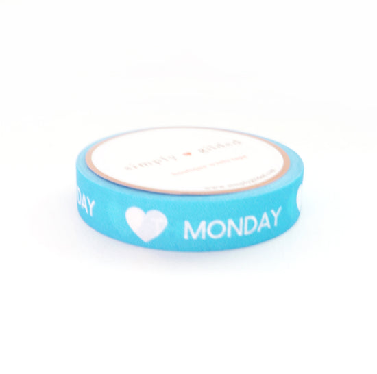 PERFORATED WASHI TAPE 10mm - Days of the Week Neon BLUE + white text