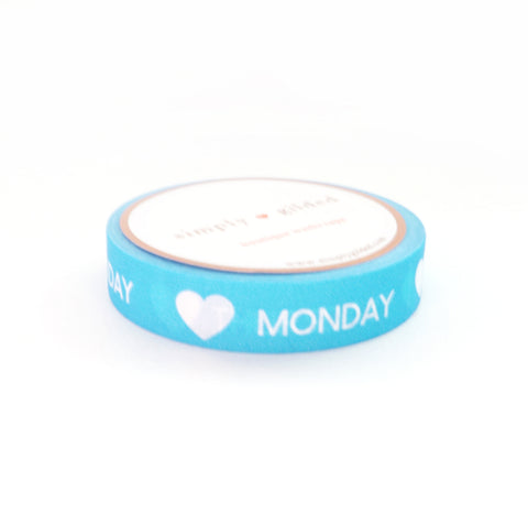 PERFORATED WASHI TAPE 10mm - Days of the Week Neon BLUE + white text (June Mini Release)