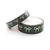 WASHI 15/10mm - Black + Neon GREEN bows