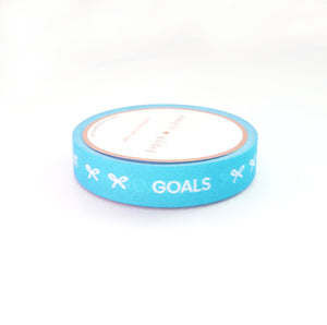 PERFORATED WASHI TAPE 10mm - TASKS Neon BLUE + white text