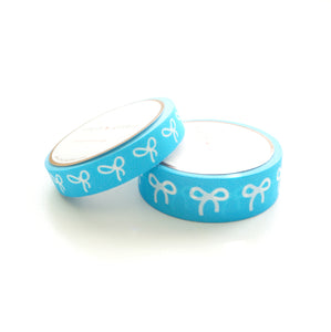 WASHI 15/10mm BOW set - Neon BLUE + white bows (Restock)