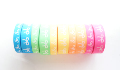 BUNDLE - WASHI TAPE 15/10mm bow set  of 10 - NEON set + white bows (May 29th Release)