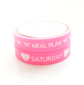 BUNDLE - PERFORATED WASHI TAPE 10mm set of 2 - Days of the Week & Tasks NEON PINK + white text (June Mini Release)