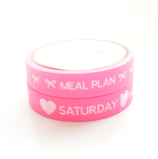 BUNDLE - PERFORATED WASHI TAPE 10mm set of 2 - Days of the Week & Tasks NEON PINK + white text