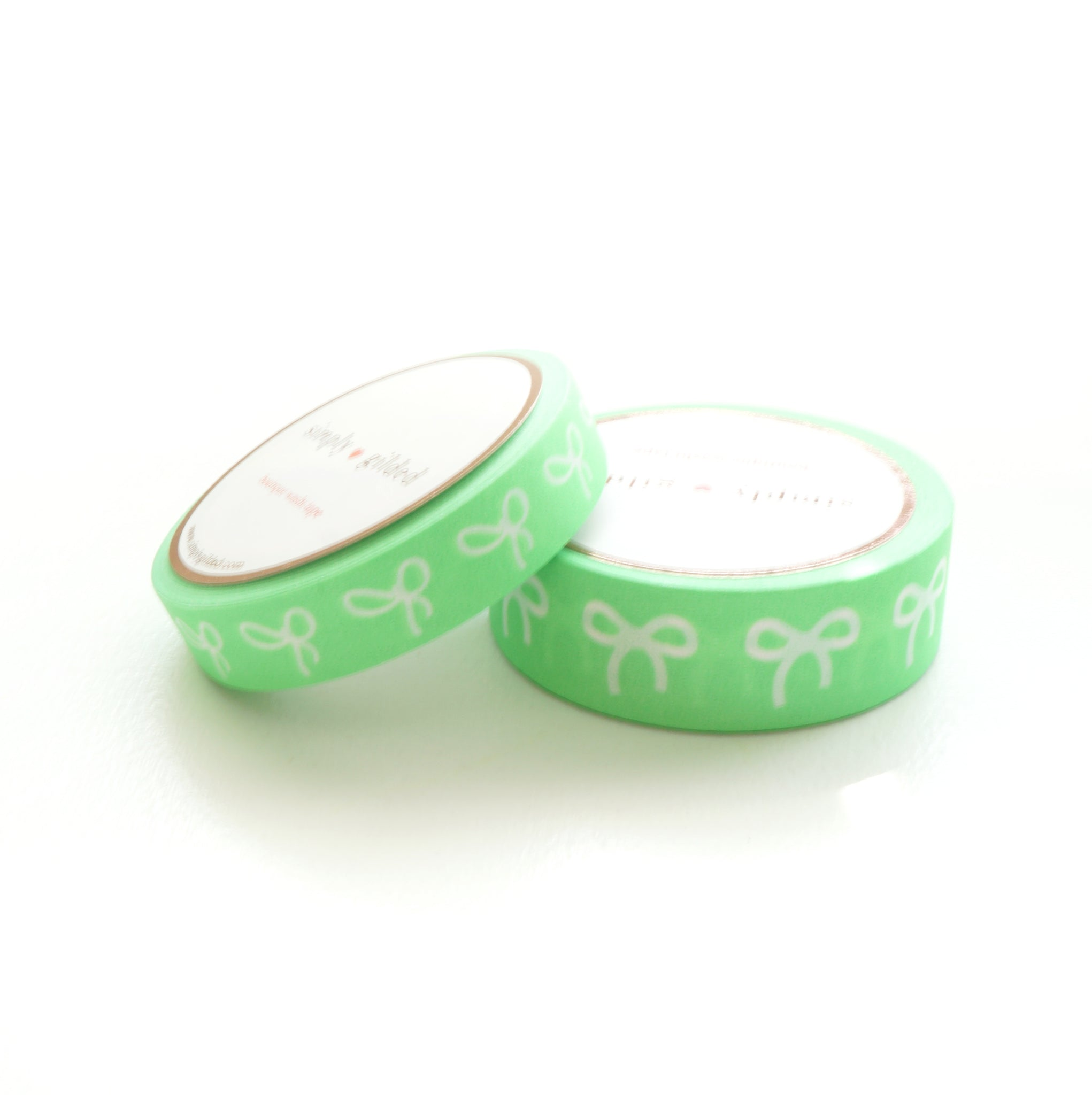 WASHI TAPE 15/10mm BOW set - Neon GREEN + white bows (May 29th Release)