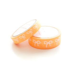 WASHI TAPE 15/10mm BOW set - Neon ORANGE + white bows