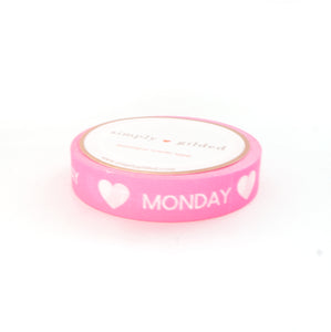 PERFORATED WASHI TAPE 10mm - Days of the Week neon PINK + white text