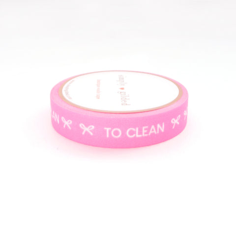 PERFORATED WASHI TAPE 10mm - TASKS Neon PINK + white text (June Mini Release)