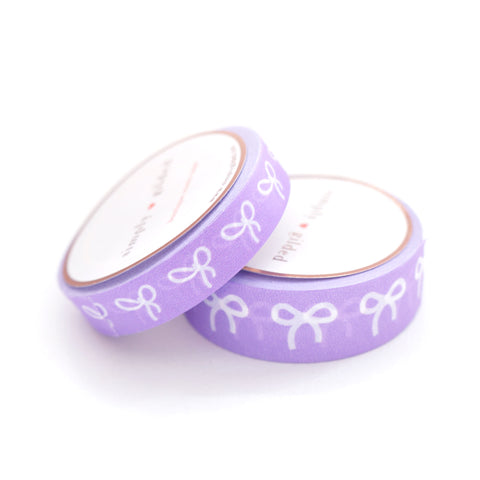 WASHI TAPE 15/10mm BOW set - Neon PURPLE + white bows (July 6 Micro Release)