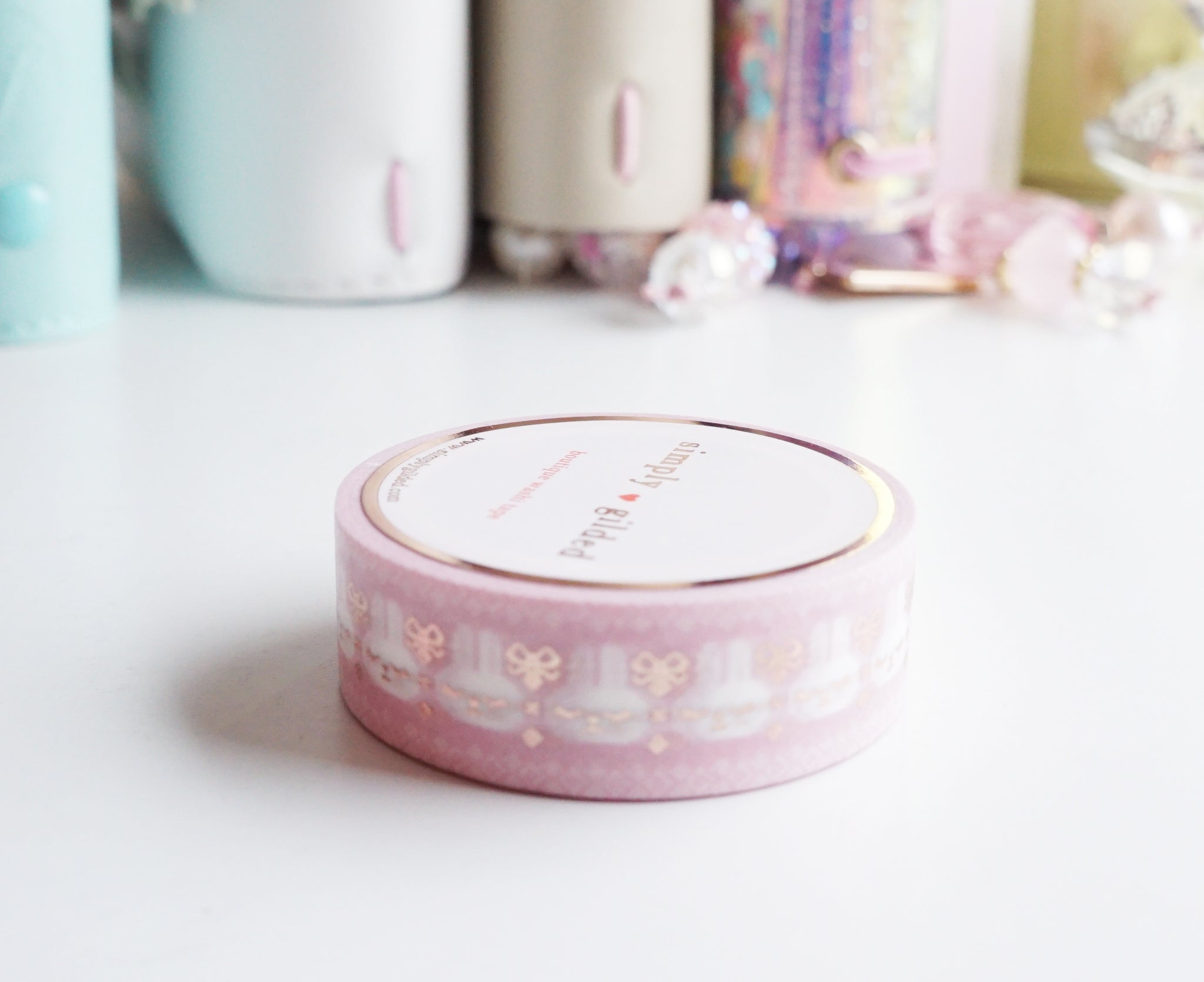 WASHI TAPE 15mm - SWEATER JUNIPER + rose gold foil (Mystery Monday)