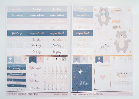 LUXE STICKER SHEET - Northern Comforts luxe set (rose gold foil) (northern comforts)