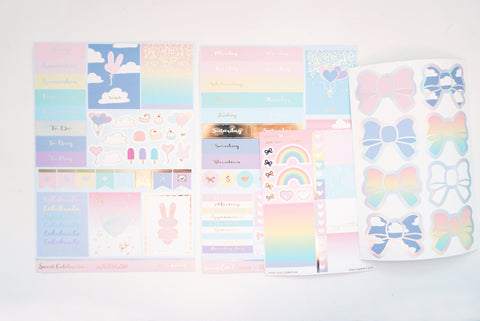 LUXE STICKER set - SWEET CELEBRATION luxe stickers, mini sheet and bow seals + lt. gold foil/silver holographic (Sweet Celebration)