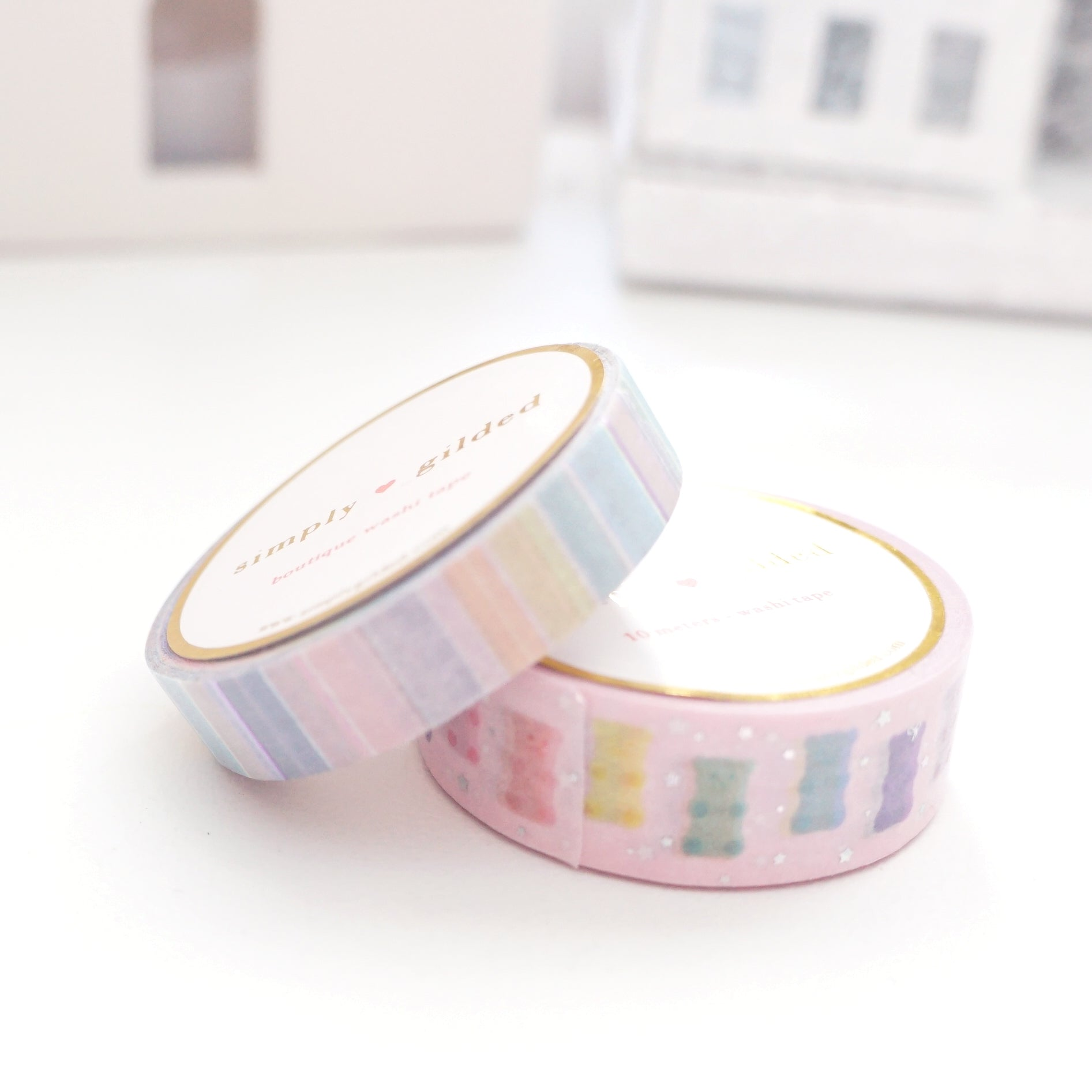 WASHI TAPE 15/10mm set - PASTEL GUMMY BEAR 2.0 & CONFECTIONS STRIPE + holographic silver foil/light purple foil (OOPS)