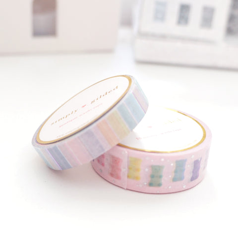 WASHI TAPE 15/10mm set - PASTEL GUMMY BEAR 2.0 & CONFECTIONS STRIPE + holographic silver foil/light purple foil (Black Friday 19 Release Restock) OOPS