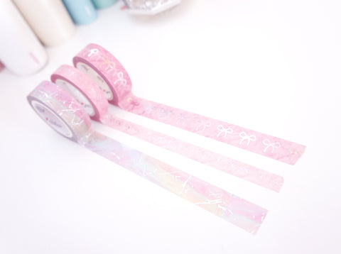 WASHI TAPE TRIO 15/15/10mm - OOPS ROSE QUARTZ BOW and rainbow marble (Mystery Monday)