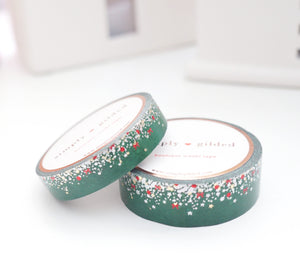 WASHI TAPE 15/10mm set - O CHRISTMAS TREE STARDUST - light gold/silver holographic/red foil (November 8 Holiday Release)