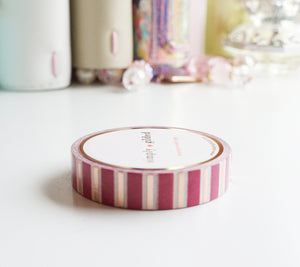 WASHI TAPE 10mm-  Vivid Pink + White  STRIPES + rose gold foil (Mystery Monday)