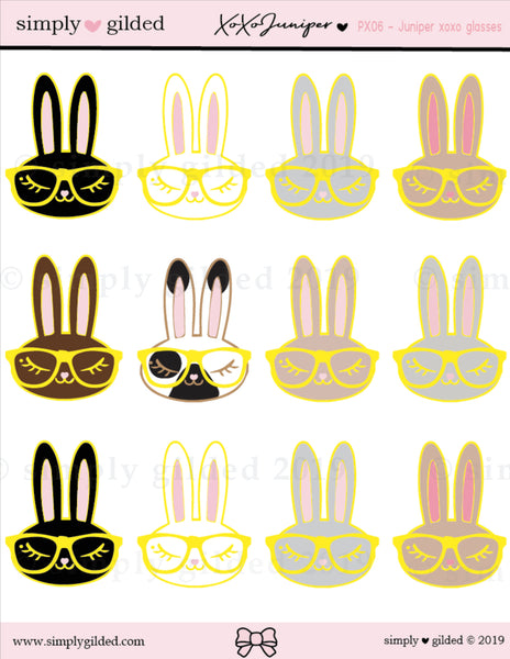 PX06 Juniper xoxo GLASSES sticker sheet
