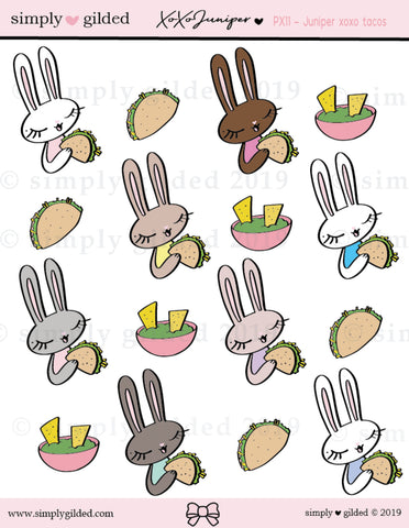 PX11 Juniper xoxo TACOS sticker sheet