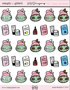 PX14 Juniper xoxo SKIN CARE sticker sheet