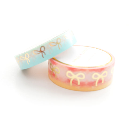 WASHI 15/10mm BOW set - PAINTED GARDEN OMBRE* + gold (Mystery Monday)