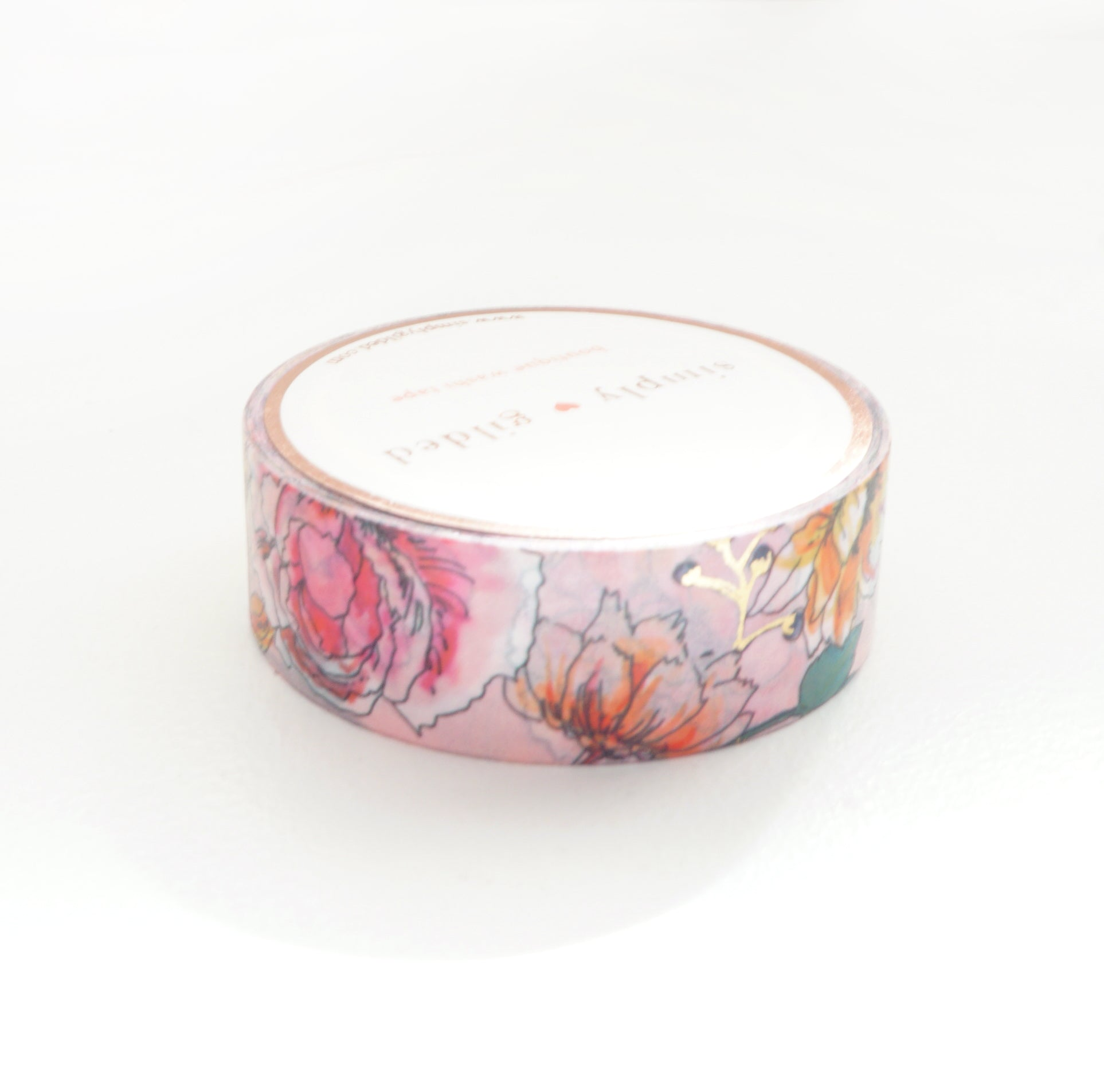 WASHI TAPE 15mm - PINK Painted Garden + lt. gold (May Release)