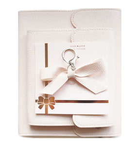 BUNDLE - Pale Pink Pebbled ALBUMS & Bow Charm