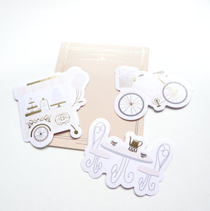 Diecut Stickers + light gold foil (Paris in Spring)
