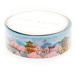WASHI 15mm - JAPAN Sakura Landscape + silver foil (passport series)