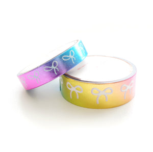 WASHI TAPE 15/10mm BOW set - PASTEL RAINBOW foil + inverse bow  (May 29th Release)