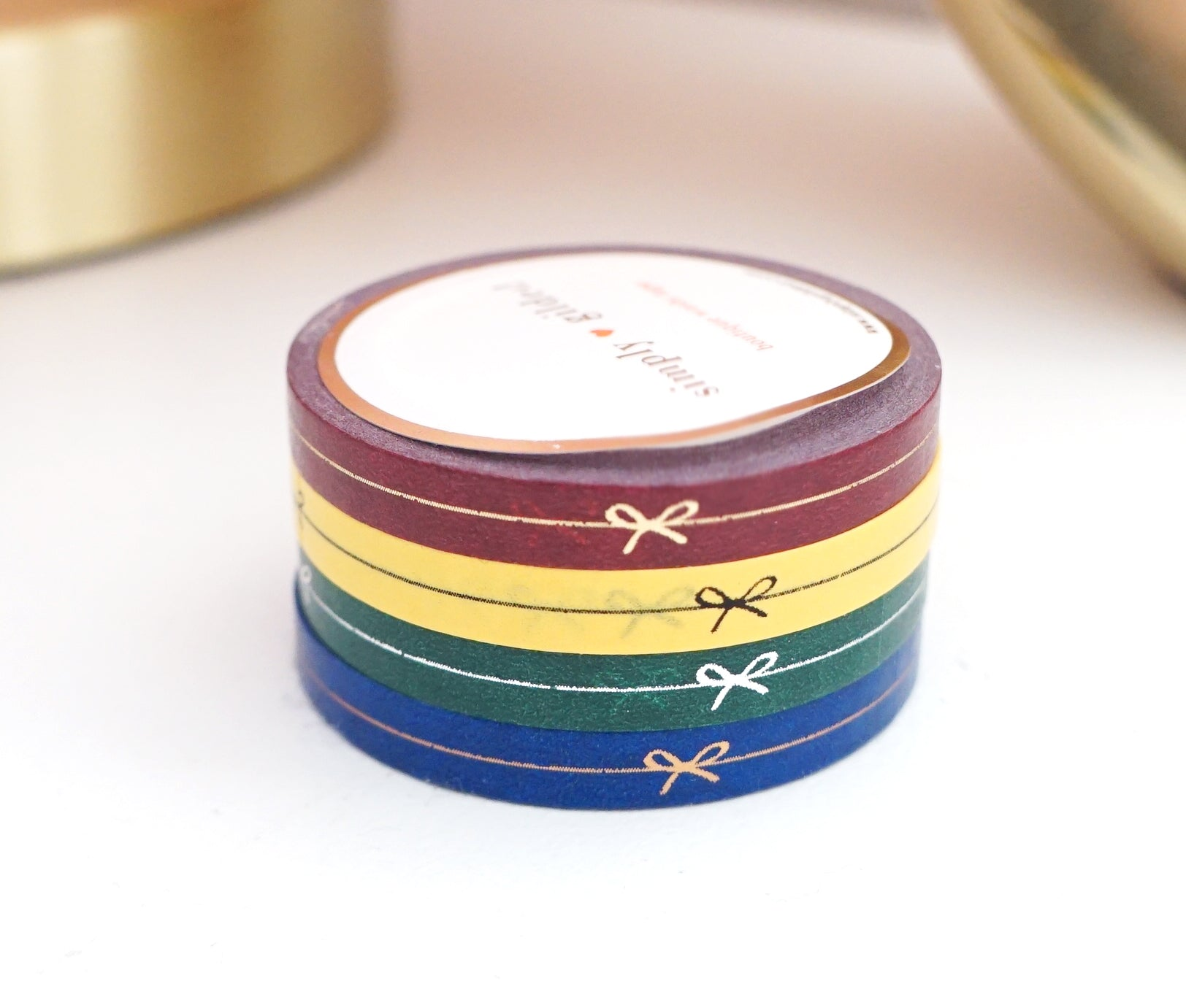 PERFORATED WASHI TAPE 6mm set of 4 - Perforated NS REMIX BOW LINE + gold/black/silver/rose gold (New Release)