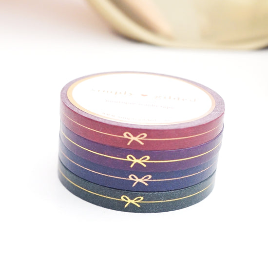 PERFORATED WASHI TAPE 6mm set of 4 - Perforated NIGHTSHADE BOW LINE + rose gold/gold foil