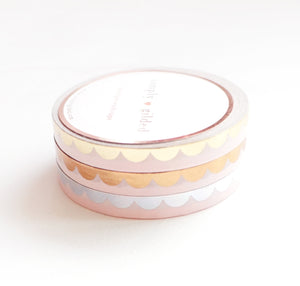 PERFORATED WASHI 6mm set of 3 - Classic PINK SCALLOP + gold/rose gold/silver holo (Mystery Monday)