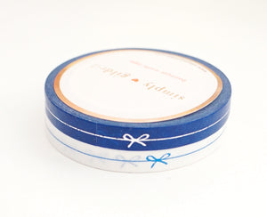 PERFORATED WASHI TAPE 6mm set of 2 - DEEP BLUE & white BOW LINE + silver/blue foil (New Release)