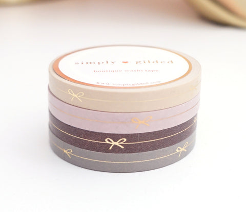 PERFORATED WASHI TAPE 6mm set of 4 - NEUTRAL BOW LINE + rose gold/lt. gold foil (New Release)