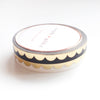 PERFORATED WASHI TAPE 6mm set of 2 - black & white SCALLOP + LT. GOLD foil