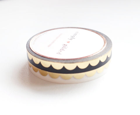 PERFORATED WASHI TAPE 6mm set of 2 - black & white SCALLOP + LT. GOLD foil (January 31 Mini Release)
