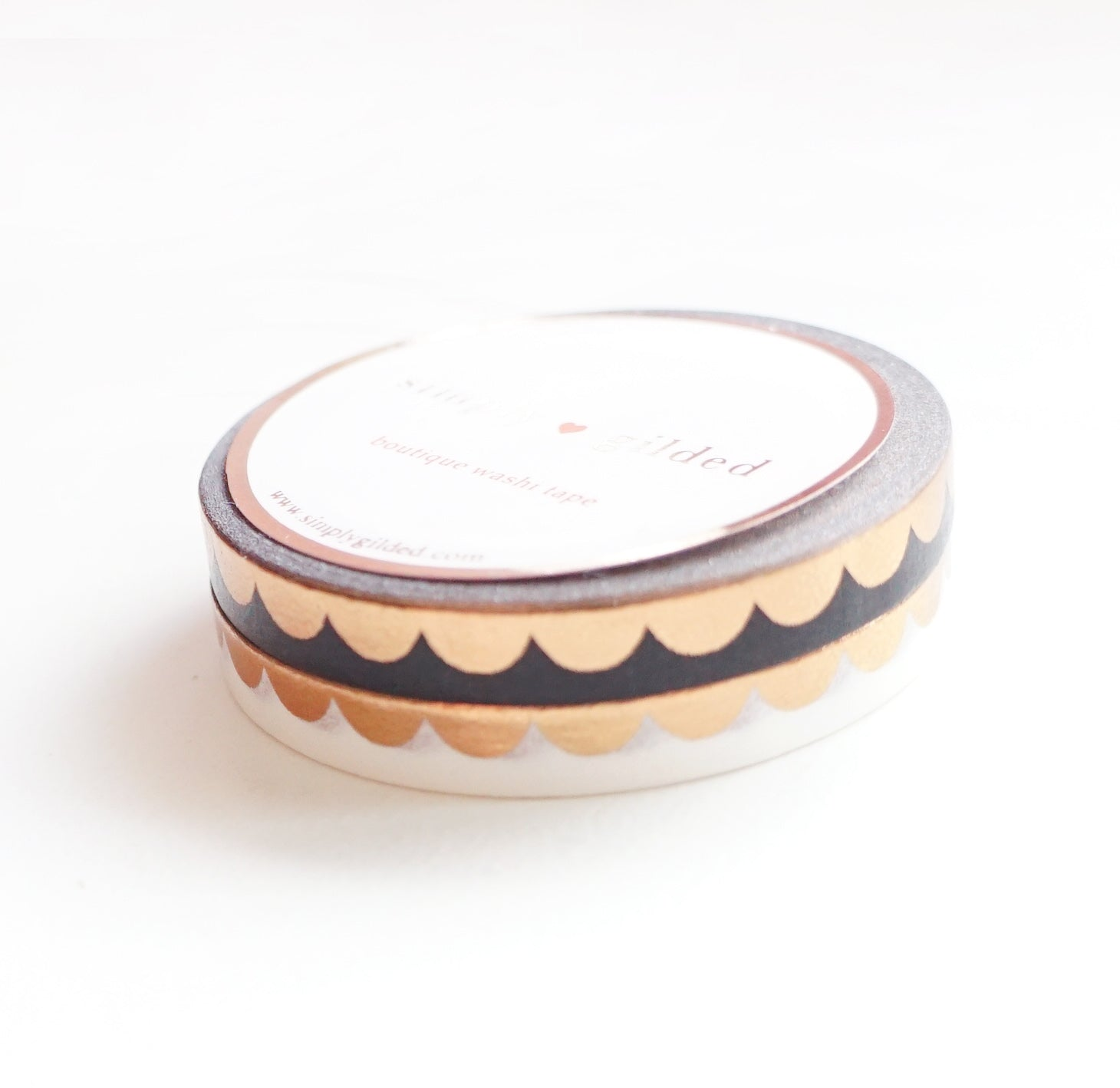 PERFORATED WASHI TAPE 6mm set of 2 - black & white SCALLOP + ROSE GOLD foil (January 31 Mini Release)