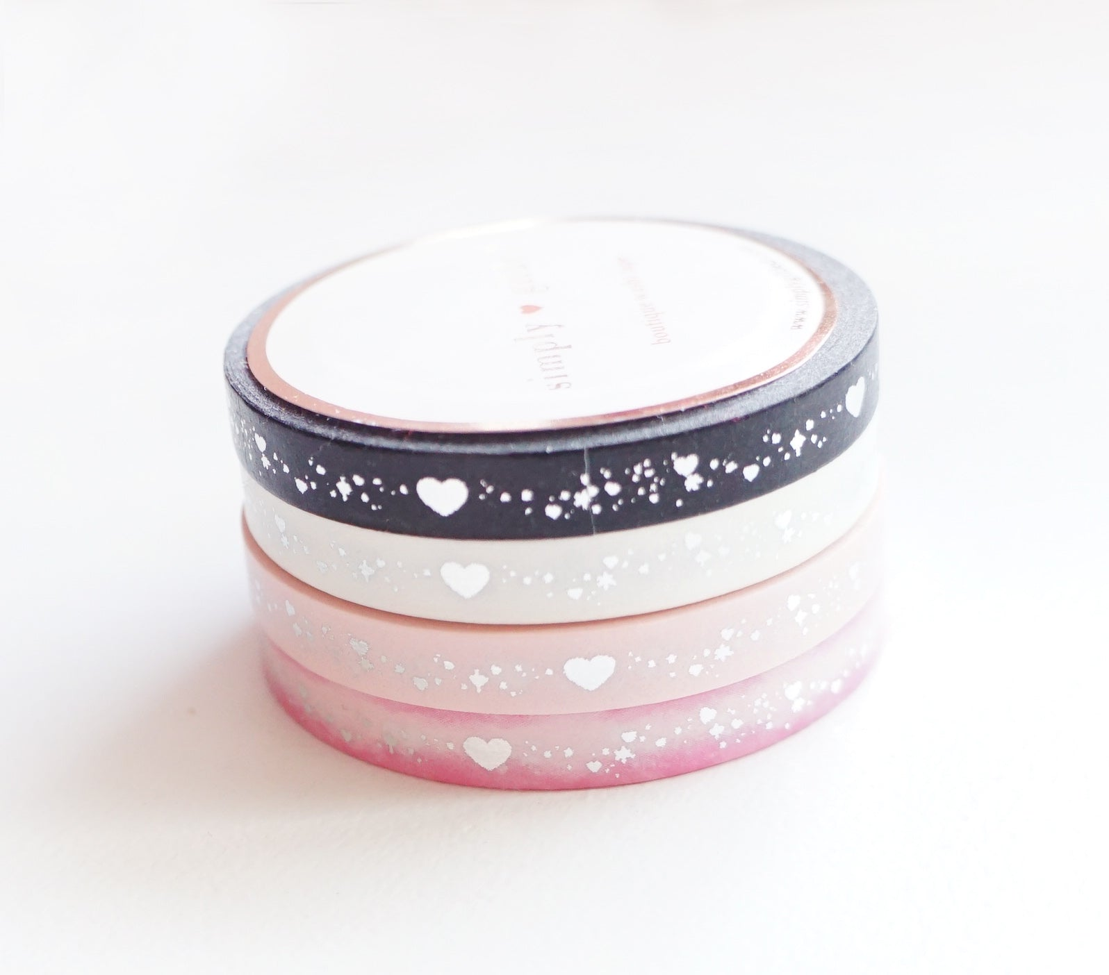 PERFORATED WASHI TAPE 6mm set of 4 - Valentine's SHIMMER HEART SET + Silver foil (January 31 Mini Release)
