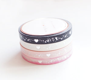 PERFORATED WASHI 6mm set of 4 - Valentine's SHIMMER HEART SET + Silver (Mystery Monday)