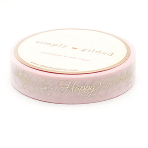 WASHI 10mm - Birthday SCRIPT PINK + champagne satin foil (pink)