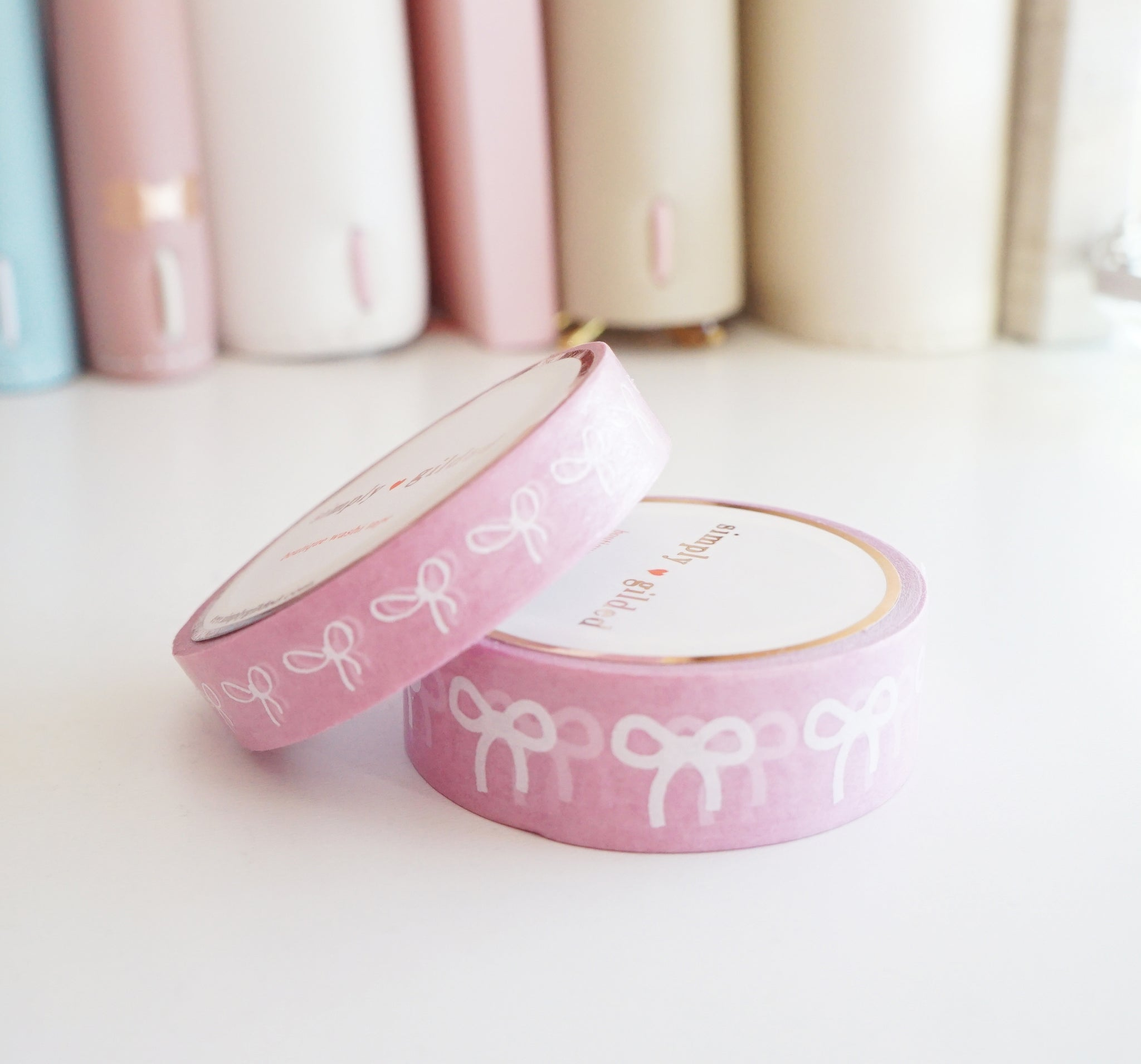 WASHI TAPE 15/10mm bow set -  Simplicity Pink + white bows OOPS (Mystery Monday)
