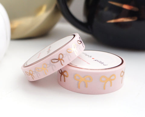 WASHI TAPE 15/10mm BOW set - CLASSIC PINK + rose gold (Mystery Monday)