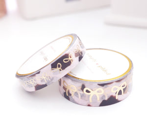 WASHI TAPE 15/10mm bow set - PINK CREAM Tortoiseshell + light gold foil bow (November 8 Holiday Release)