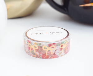 WASHI TAPE 15mm - FALL PINK PUMPKINS BOWS + rose gold foil (October 2019 Release)