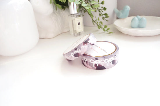WASHI 15/10mm set - PINK tortoiseshell + silver foil bow