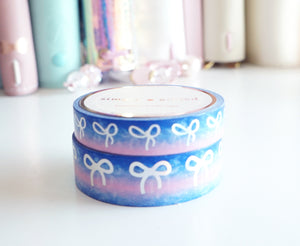 Blue & Pink variation ombre + holographic foil bow washi tape set -LIMIT 1 -  (Easter egg hunt)